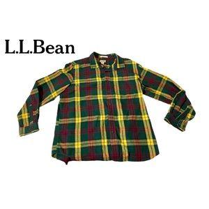 L.L. Bean Vintage Plaid Flannel Button Down Shirt
